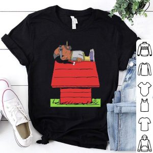 Snoop Dogg smoking on Snoopy's Dog House shirt