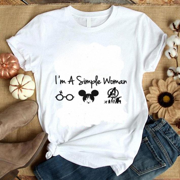 57aac78a5f4 I'm a simple woman I like Harry Potter Mickey Mouse Avengers Endgame shirt