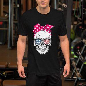Lady Skull American flag Bow shirt