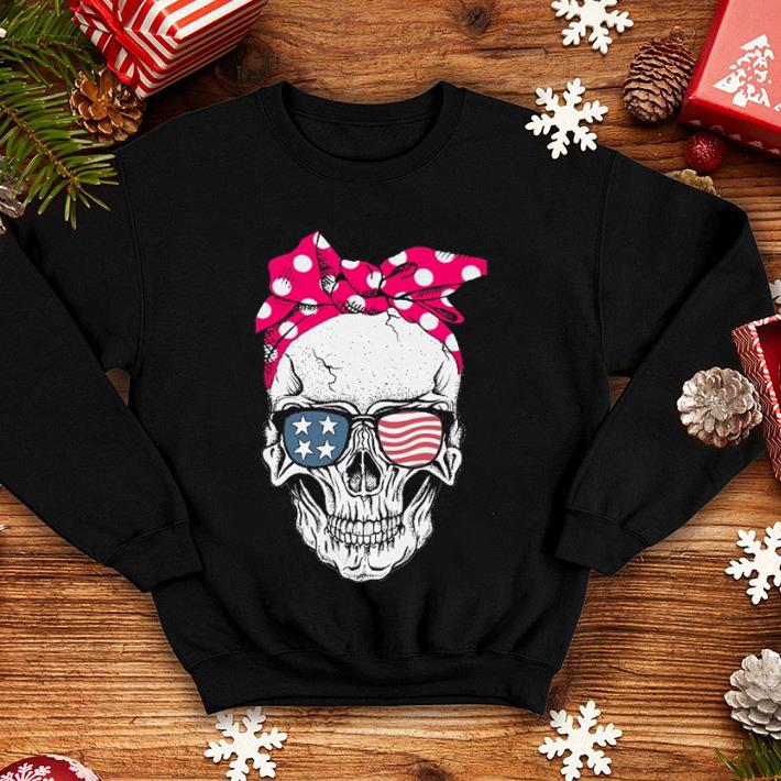 Lady Skull American flag Bow shirt 4 - Lady Skull American flag Bow shirt