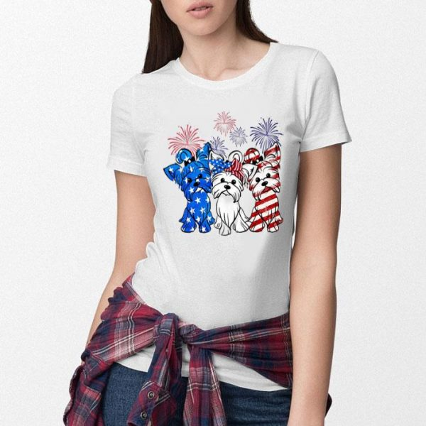 Fireworks Yorkshire Terrier red white and blue American flag shirt
