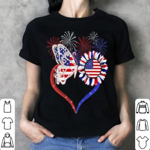 America flag with sunflower, butterfly and fireworks shirt