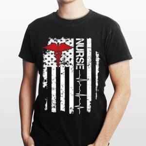Awesome Nurse Heartbeat United States Flag shirt