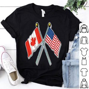 Crossed Poles USA and Canada Waving Flags shirt