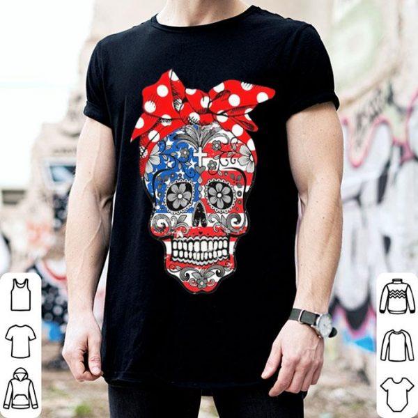 Lady Christian sugar skulls America flag shirt