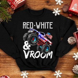 Red White Vroom Monster Truck American Flag July 4th shirt