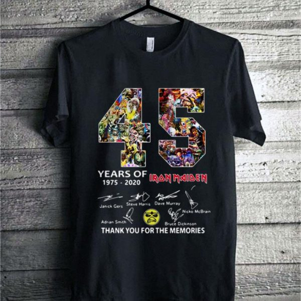 45 years of Iron Maiden 1975-2020 signatures thank you shirt