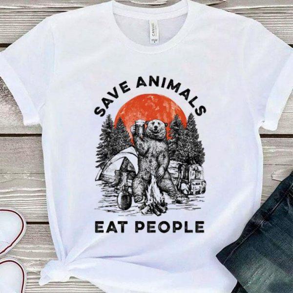 Bear beer save animals eat people sunset shirt