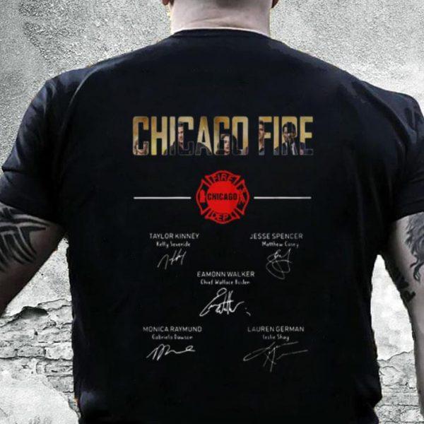 Chicago Fire firefighter signatures shirt