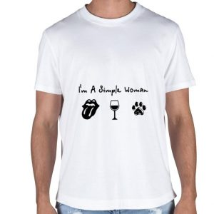 I'm a simple woman i love Rolling Stones wine dog paw shirt