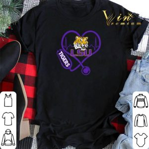 Love LSU Tigers Stethoscope Heartbeat nurse shirt sweater 1
