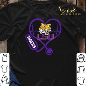 Love LSU Tigers Stethoscope Heartbeat nurse shirt sweater 2