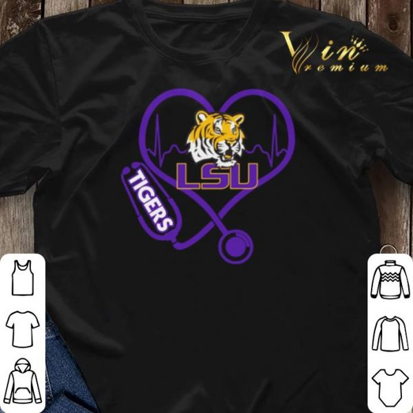 Love LSU Tigers Stethoscope Heartbeat nurse shirt sweater