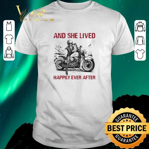 Awesome Girl bike And she lived happily ever after shirt sweater