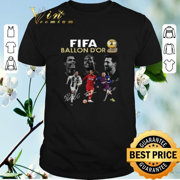 Awesome Signature Fifa Ballon D'or 2019 Cristiano Ronaldo Messi Van Dijk shirt