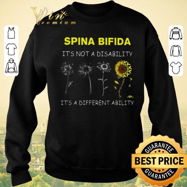 Awesome Sunflower Spina bifida it's not a disability it's a different ability shirt