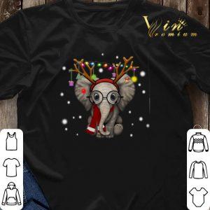Elephant reindeer merry and bright Christmas shirt 2