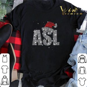 Glitter ASL Santa hat Christmas shirt sweater