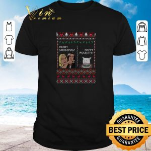 Hot Merry Christmas happy holidays Woman yelling at a cat meme shirt sweater