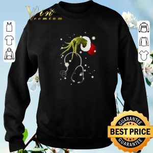 Top Grinch hand hold Stethoscope Nurse Christmas shirt sweater 2