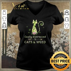 Awesome Easily distracted by cats & weed cannabis shirt sweater
