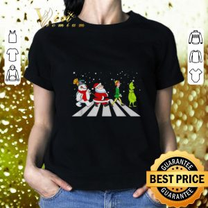 Awesome Santa Elf Grinch Abbey Road characters Christmas shirt