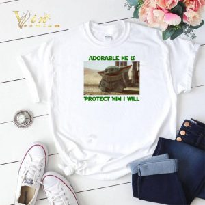 Baby Yoda adorable he is protect him i will The Mandalorian shirt sweater