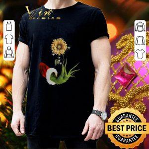 Best Grinch Santa hand holding sunflower shirt 2