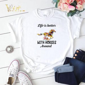 Flower life is better with horses around shirt sweater 1