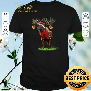 Hot Christmas light Moose santa gorgeous reindeer shirt