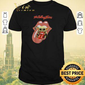 Nice Star Wars Baby Yoda hug The Rolling Stones Logo shirt sweater