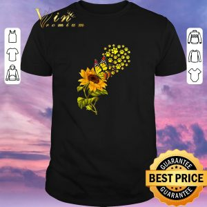 Official Dog Paw Sunflower And Butterfly shirt sweater