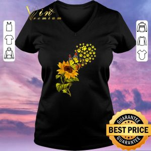 Official Dog Paw Sunflower And Butterfly shirt sweater 1