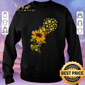 Official Dog Paw Sunflower And Butterfly shirt sweater 2