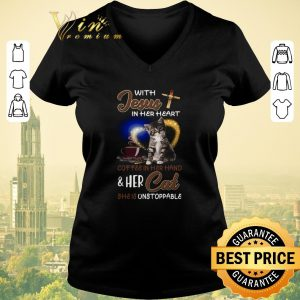 Official With Jesus in her heart coffee hand & her Cat she is unstoppable shirt sweater