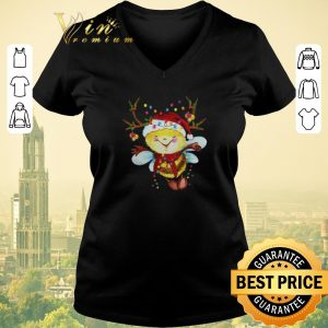 Pretty Santa Bee Reindeer Light Christmas shirt sweater
