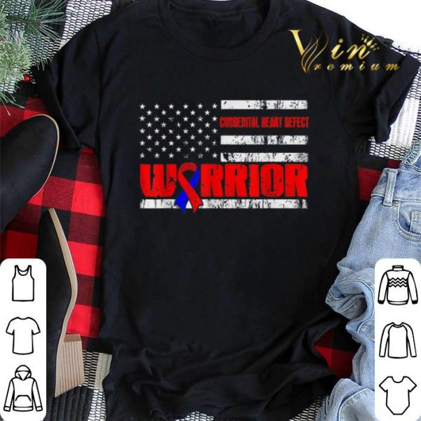 Congenital Heart Defect Warrior Awareness American flag USA shirt sweater