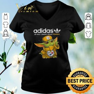 Funny Baby Yoda adidas all day i dream about Pittsburgh Steelers shirt sweater