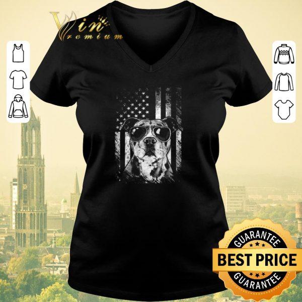 Nice American flag Pitbull Sunglass shirt sweater
