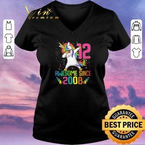 Premium Awesome Since 2008 12 Years Old 12th Birthday Unicorn Dabbing shirt sweater