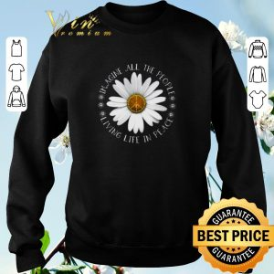 Pretty Daisy Flower Imagine All The People Living Life In Peace Sign shirt sweater 2