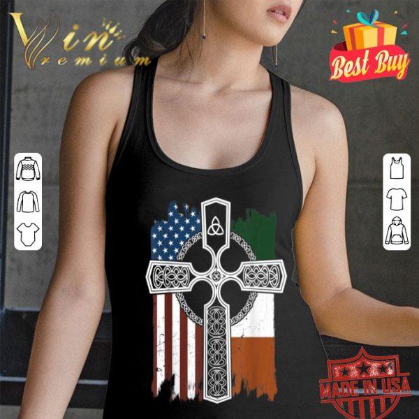 American Irish Flag With Celtic Cross St Patricks shirt