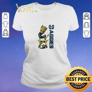 Awesome Baby Groot Baby Yoda Hug Utah State Aggies Star Wars shirt sweater