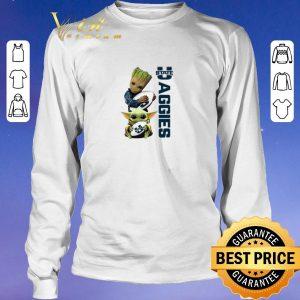 Awesome Baby Groot Baby Yoda Hug Utah State Aggies Star Wars shirt sweater 2