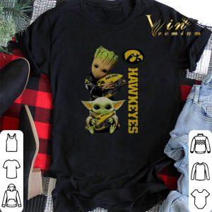 Baby Groot And Yoda Hug Iowa Hawkeye shirt sweater 1