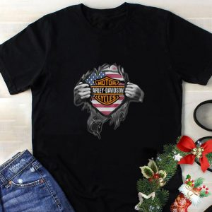 Best Motor Harley Davidson Cycles blood inside me American flag shirt