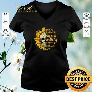 Hot Sunflower skull she is sunshine mixed with a little hurricane shirt sweater