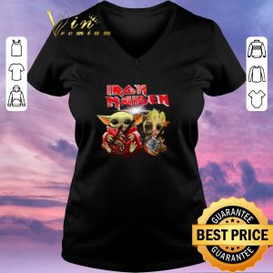 Top Iron Maiden Baby Yoda and Baby Groot play guitar shirt sweater