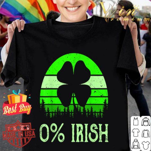 0% Irish Funny Saint Patrick's Day 4 Leafs Clover Vintage T-shirt