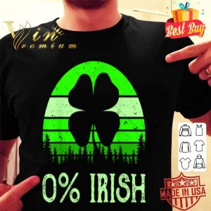 0% Irish Funny Saint Patrick's Day 4 Leafs Clover Vintage T-shirt